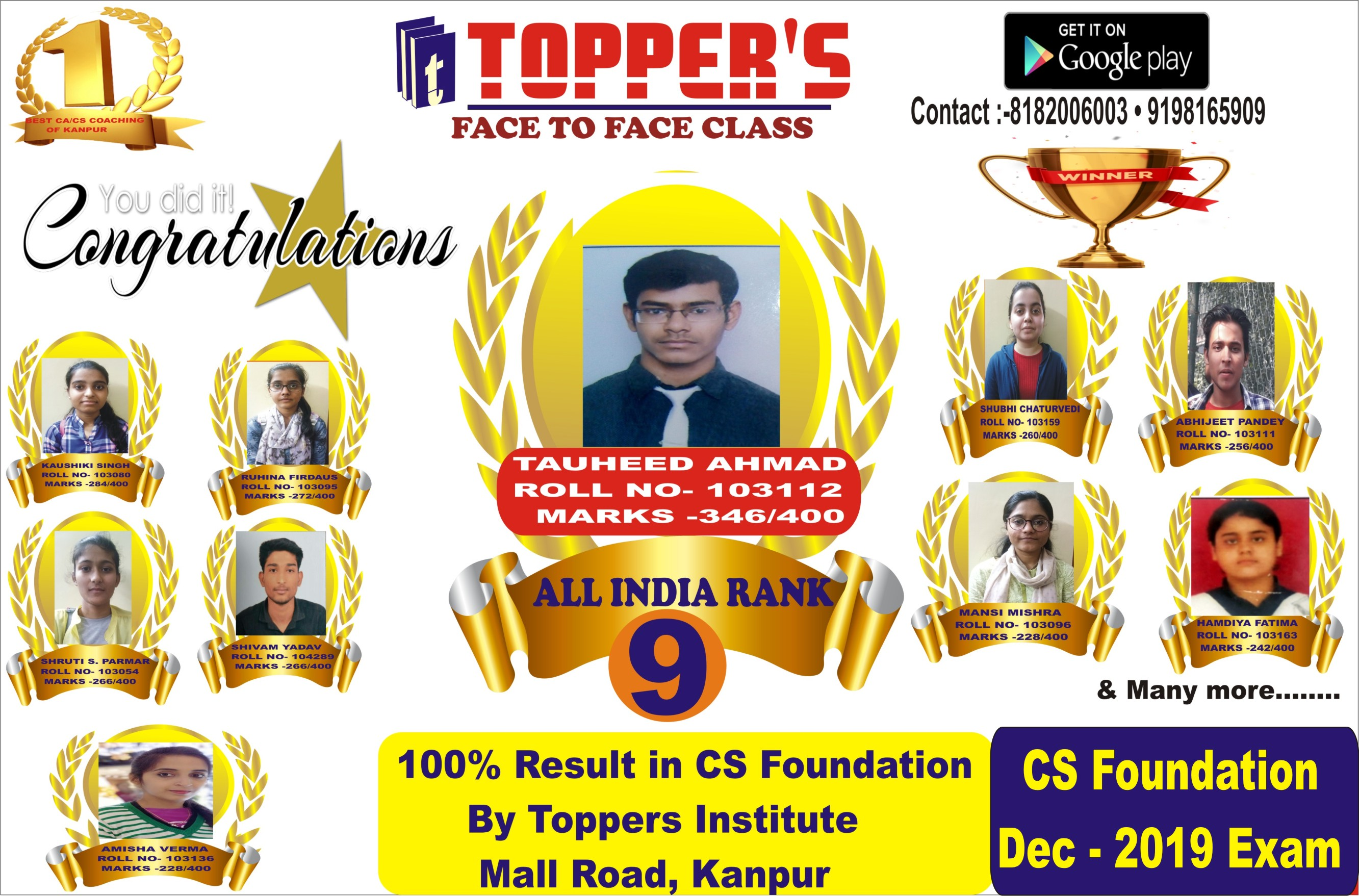 CS FOUNDATION DEC 2019 EXAM RESULT BY TOPPERS KANPUR