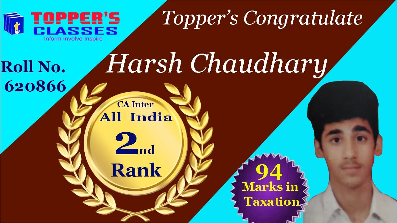 CA INTER 2ND RANK NOV 2019 BY  TOPPERS INSTITUTE KANPUR