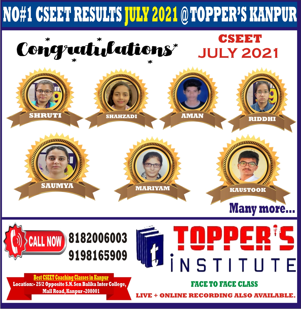 CSEET JULY 2021 EXAM RESULT BY TOPPERS KANPUR